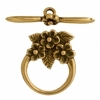 Toggle - 3 Flowers 15mm Antique Brass